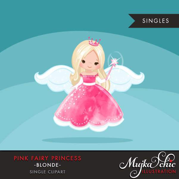 Pink fairy princess clipart, blonde girl