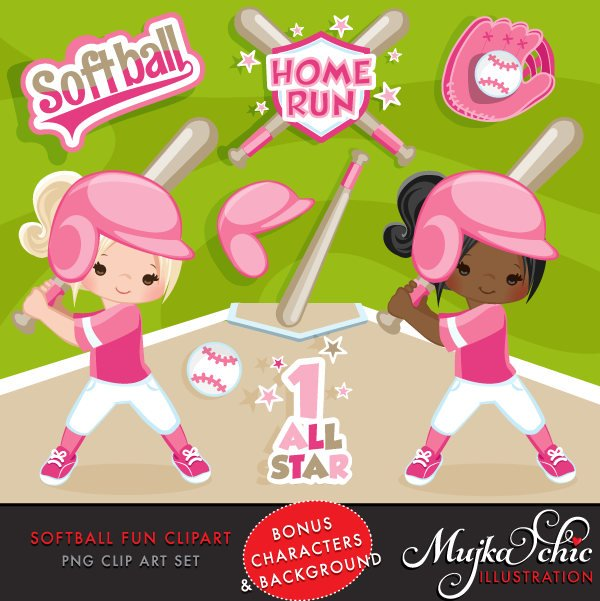 Softball Clipart, girl in pink jersey