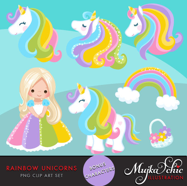 Unicorn Clipart Rainbow, spring, summer little girl graphics