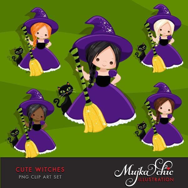 Halloween Clipart, wicked girl with broom