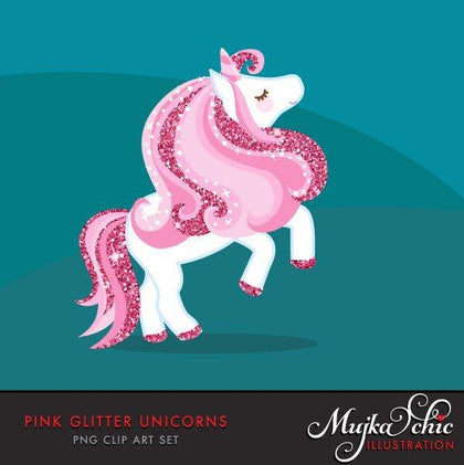 Pink Glitter animal, Unicorn Clipart spring