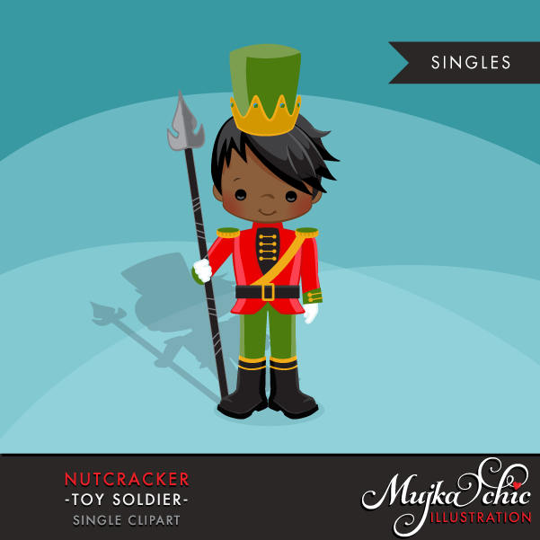 Nutcracker Clipart, Christmas graphics, black boy soldier
