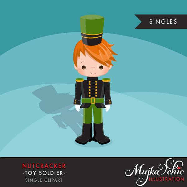 Nutcracker Clipart, Christmas graphics, Red blonde boy soldier