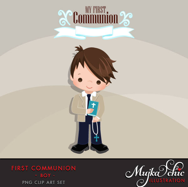 First Communion Clipart for Boy Add On. religious Cute Communion characters
