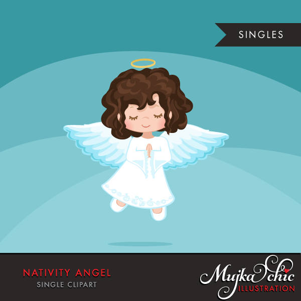 Nativity Angel Clipart, brunette girl in christmas religious
