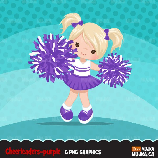 Purple Girl Cheerleader Clipart