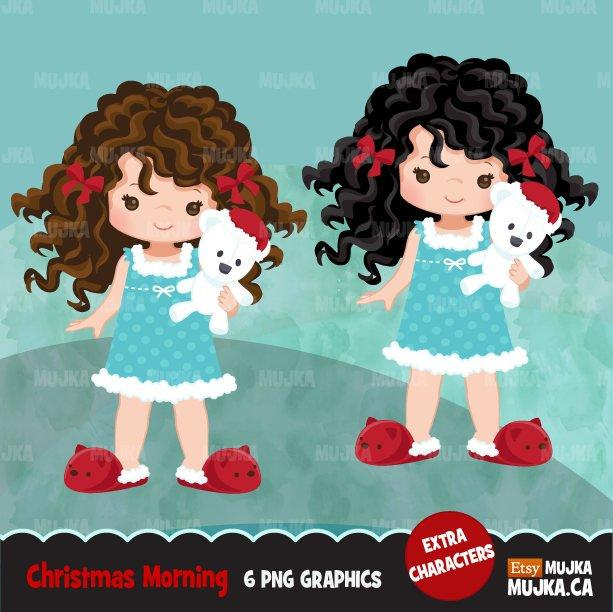 Christmas Clipart, Curly haired girl