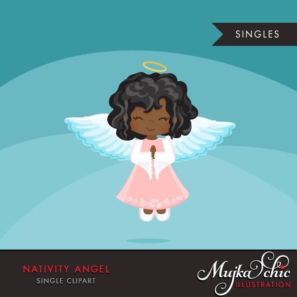 Nativity Angel Clipart, black girl in christmas religious