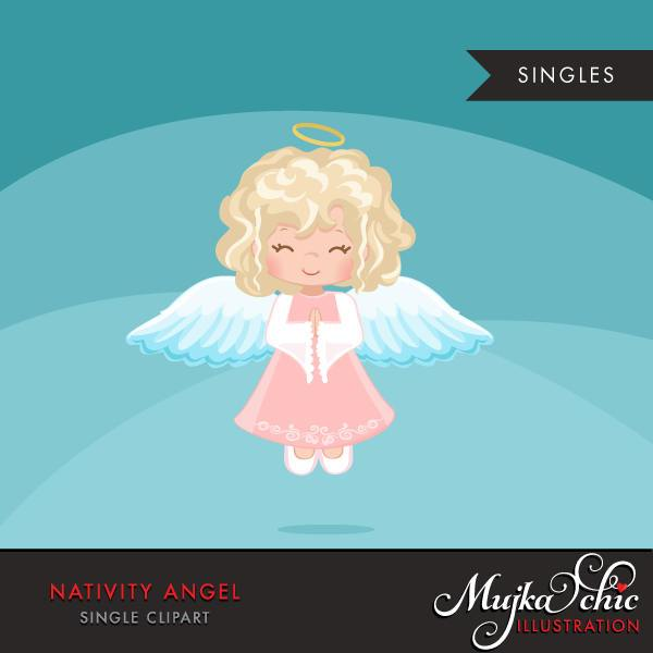 Nativity Angel Clipart, blonde girl, christmas religious