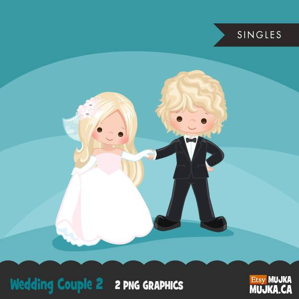 Wedding couple clipart, blonde girl and boy dancing