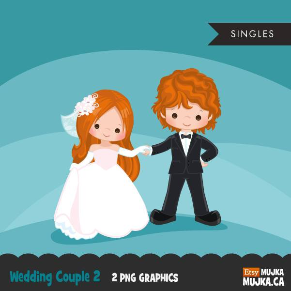 Wedding couple clipart, red blonde girl and boy