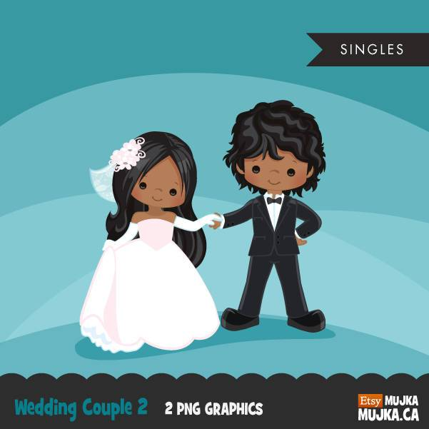 Wedding couple clipart, black girl and boy dancing