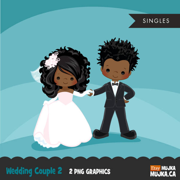 Wedding couple clipart, married black girl and boy