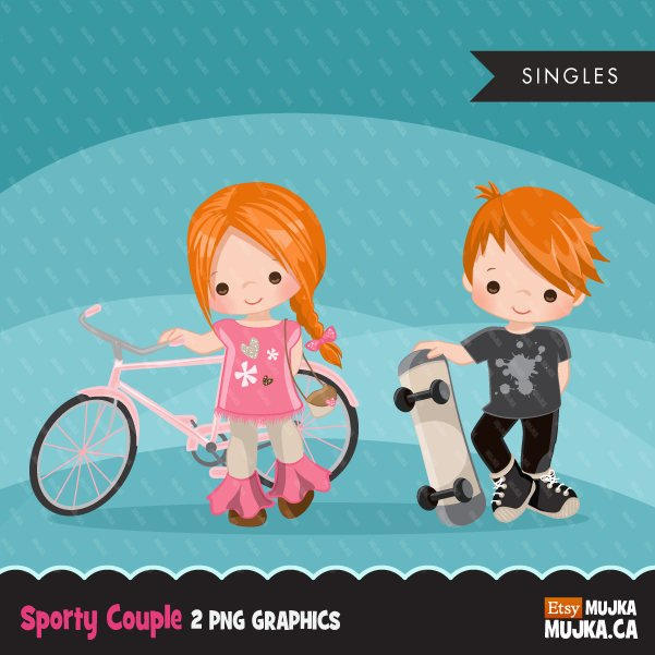 Sports couple girl with bicycle and boy with skateboard