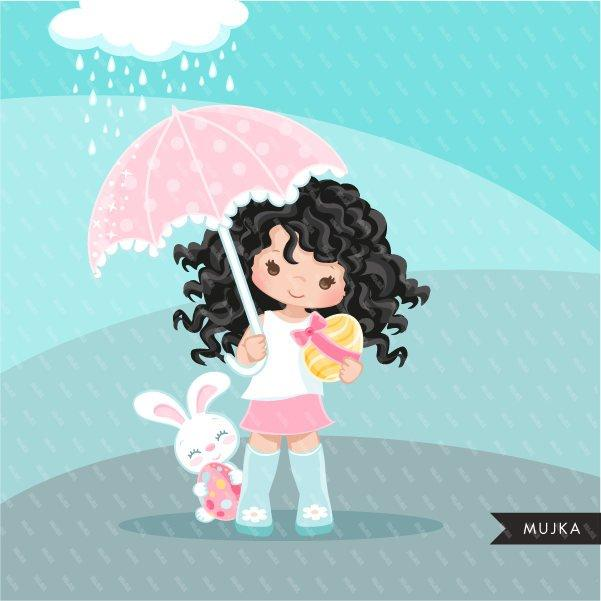 Easter spring clipart egg hunt, dark brunette girl with animal