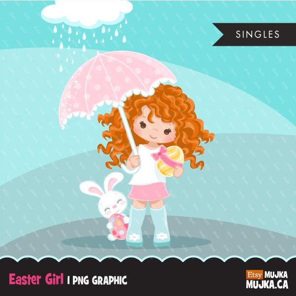 Easter spring clipart egg hunt, Red blonde girl with animal graphic