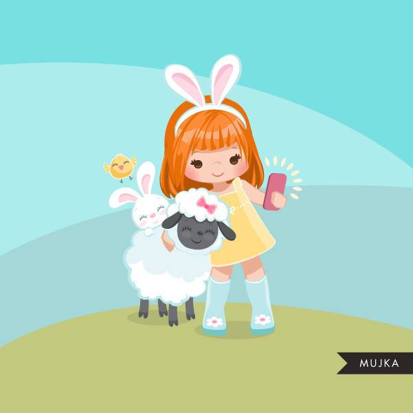 Easter animals spring clipart, red blonde girl