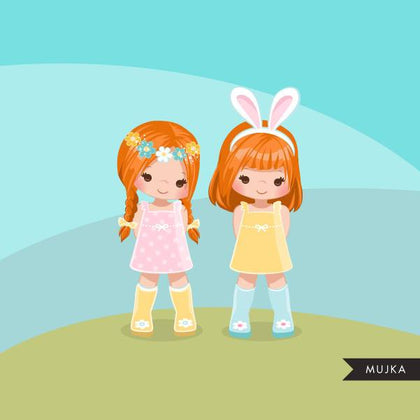 Easter spring clipart, 2 red blonde girl friends