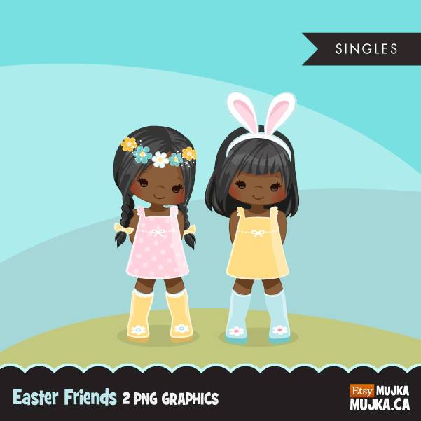 Easter spring clipart. Little black girls with Bunny ears