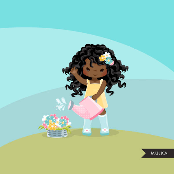 Spring flowers Easter clipart, black girl