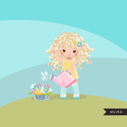 Spring flowers Easter clipart, blonde girl