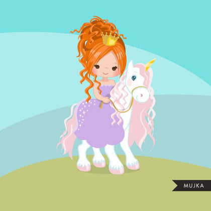 Unicorn princess clipart, red blonde riding animal