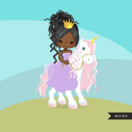Unicorn princess clipart, black girl on animal