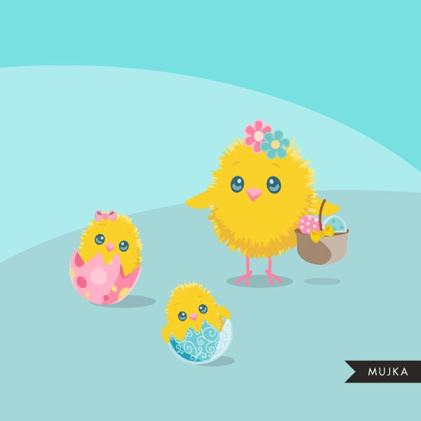 Easter Turtle and Chicks clipart, cute animal graphics