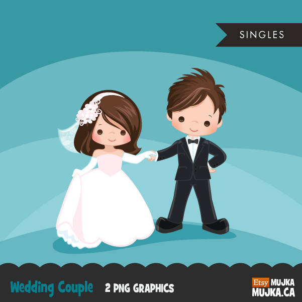 Wedding couple clipart, girl and boy dancing