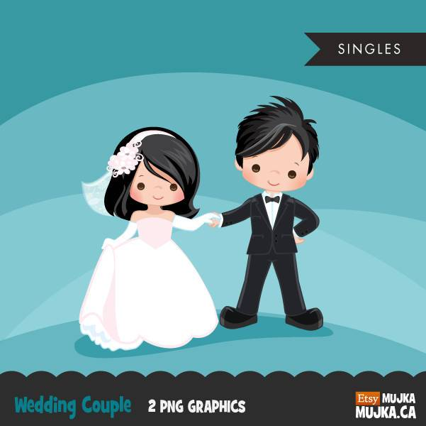 Wedding couple Boy Girl clipart