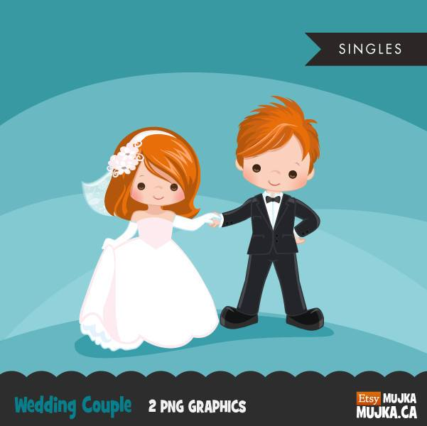 Wedding couple clipart, red blonde girl and boy dancing