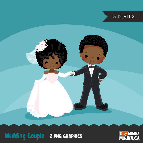 Wedding couple clipart, black girl and boy
