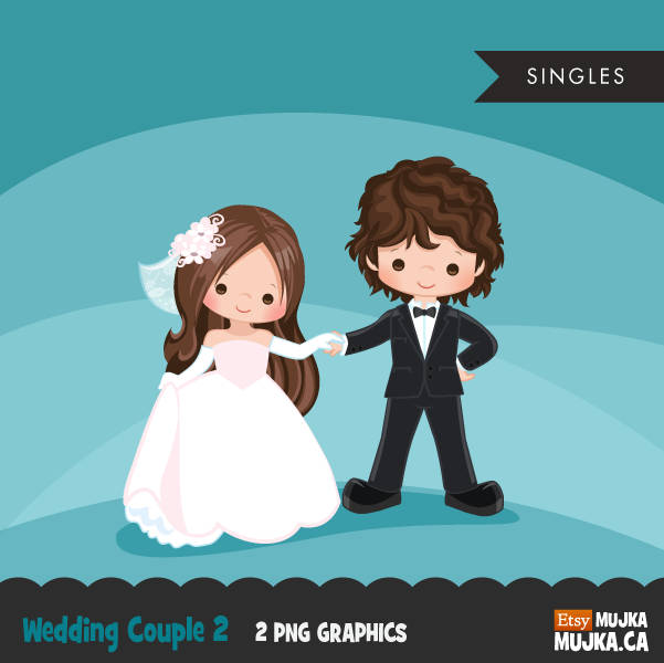 Wedding couple clipart, brunette girl and boy dancing