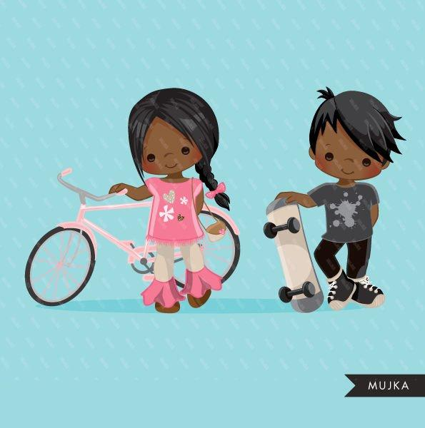 Black Sports couple girl with bicycle and boy with skateboard