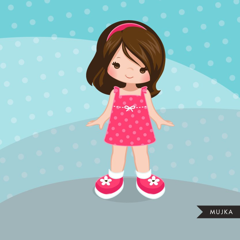 Little girl clipart graphics, friends