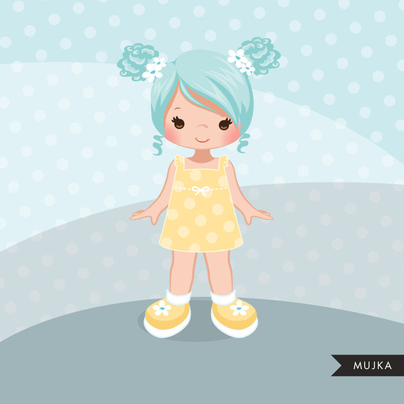 Little girl clipart graphics, pigtail friends