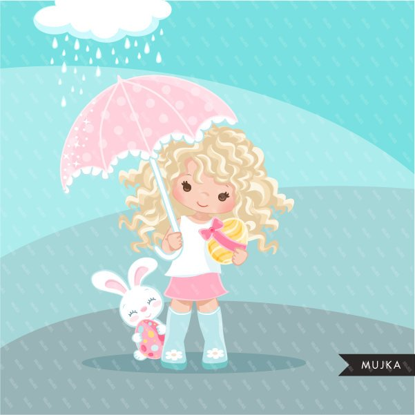 Easter spring clipart egg hunt, blonde girl with animal graphic