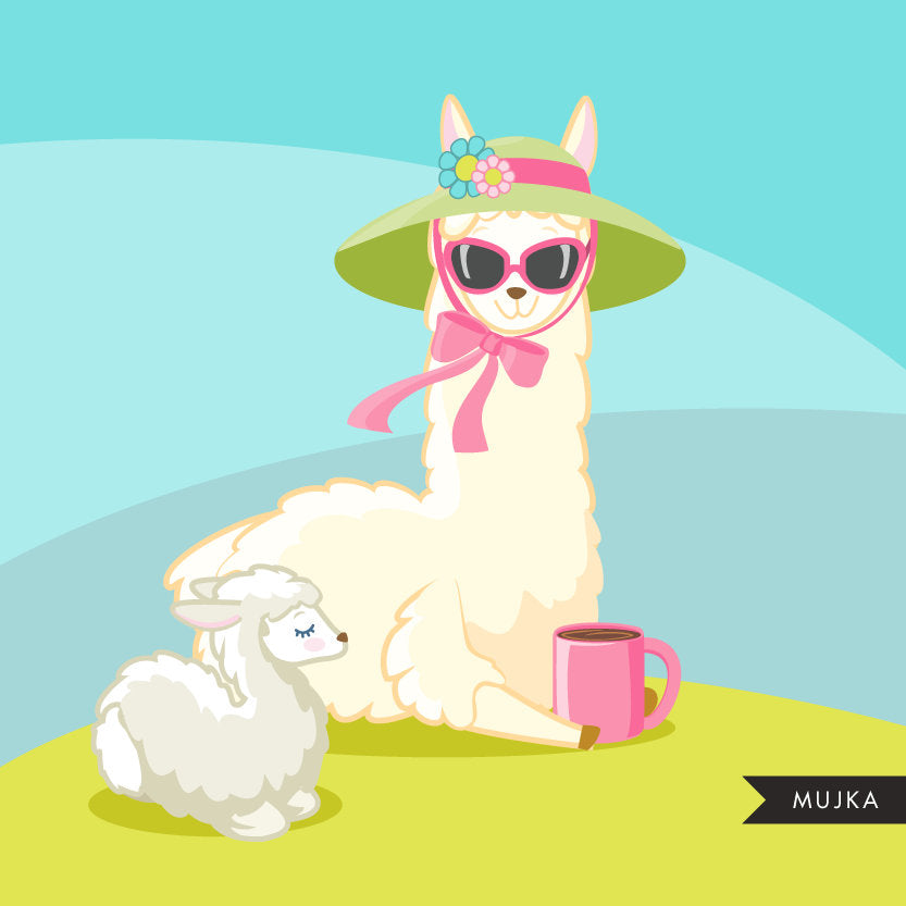 Llama clipart, animal easter, spring, mother's day quotes
