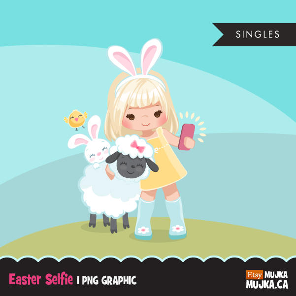 Easter animals spring clipart , blonde girl graphic