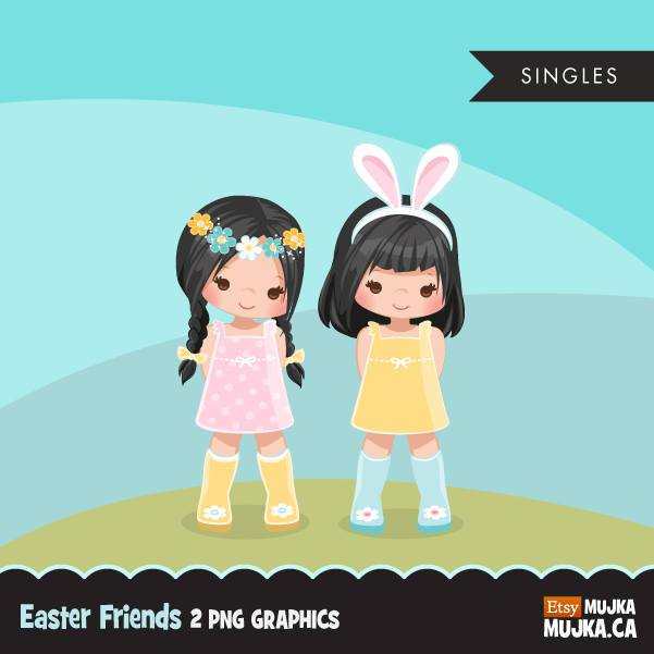 Easter spring clipart, dark brunette girl friends