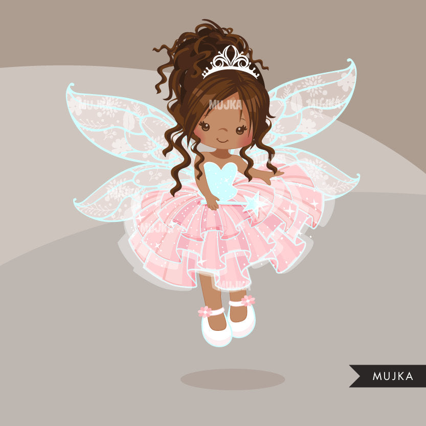 Pink Fairy clipart, black girl character