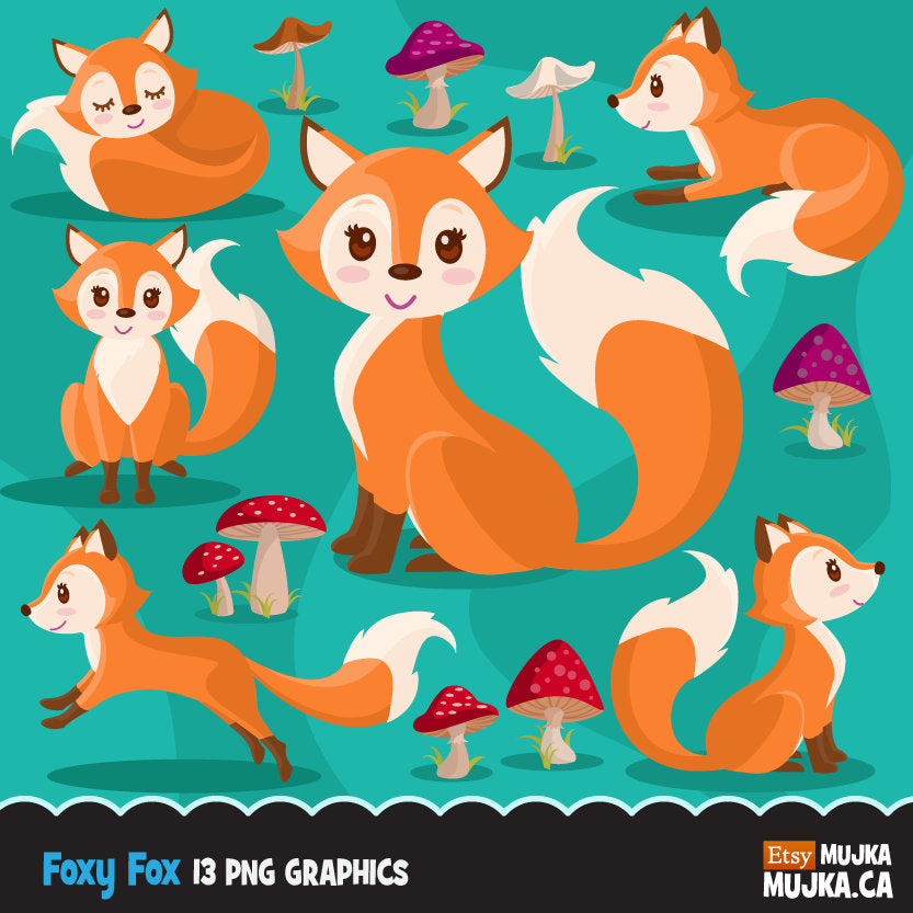 Baby Woodland Fox. Animal Clipart. fall