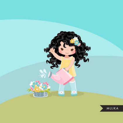 Spring flowers Easter clipart, dark brunette girl
