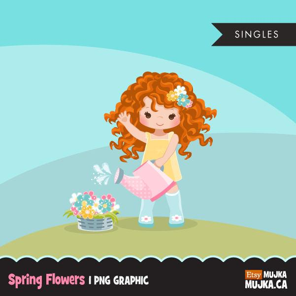 Spring flowers Easter clipart, Red blonde girl