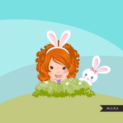 Easter bunny clipart, red blonde girl sitting with animal graphic