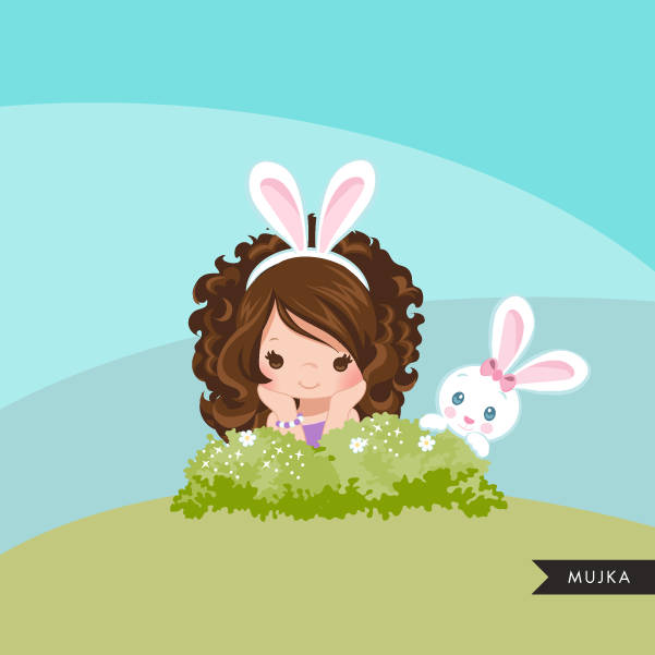 Easter bunny clipart, cute brunette girl with animal graphics