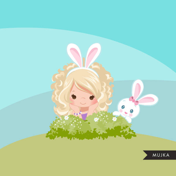 Easter bunny clipart, blonde girl sitting with animal graphic
