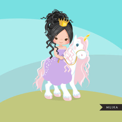 Unicorn princess clipart, dark brunette riding animal