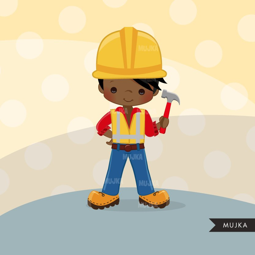 Construction Clipart with boys