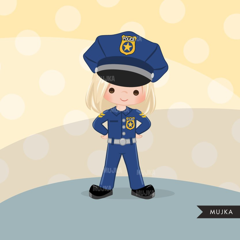Cops, Girl police officer clipart